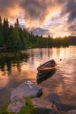 iPhone fondos de pantalla Ringerike, Noruega, lago, barco, salida del sol