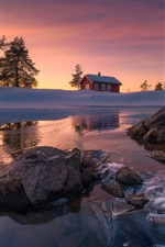 Preview iPhone wallpaper Ringerike municipality, Norway, snow, rocks, lake, winter