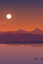 Preview iPhone wallpaper River, mountains, ducks, sun, dusk, vector art picture