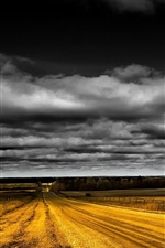 Preview iPhone wallpaper Road, fields, black clouds, dusk