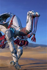 Preview iPhone wallpaper Robot camel, desert, fantasy, art picture