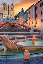 Preview iPhone wallpaper Rome, fountain, church, night, Italy