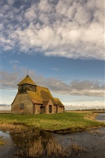 Romney Marsh, England, church, river, grass, clouds, sky