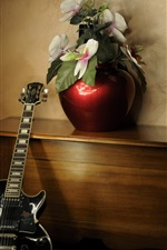 Preview iPhone wallpaper Room, flowers, guitar, wood table
