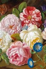 Preview iPhone wallpaper Roses, flowers, oil painting, Josef Holstayn