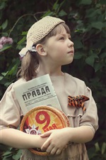 Preview iPhone wallpaper Russian little girl, newspaper