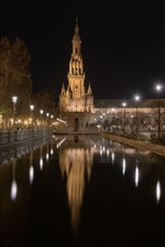 Preview iPhone wallpaper San Bernardo, Seville, Andalusia, buildings, night, channel, water, lights