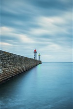Preview iPhone wallpaper Sea, pier, lighthouse, dusk