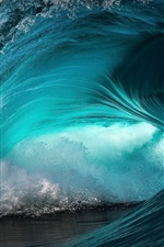 Preview iPhone wallpaper Sea wave, roll, blue water, splash