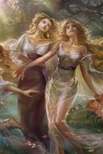 Preview iPhone wallpaper Sisters, dance girls, flowers, art painting