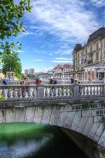 Slovenia, Ljubljana, river, bridge, city
