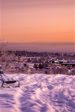 Preview iPhone wallpaper Snow, bench, dusk, winter