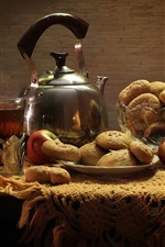 Preview iPhone wallpaper Still life, apples, cookies, food