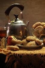 iPhone обои Натюрморт, яблоки, печенье, еда
