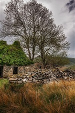 Preview iPhone wallpaper Stone house, grass, trees, clouds, countryside