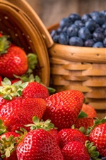 Preview iPhone wallpaper Strawberries and blueberries, harvest
