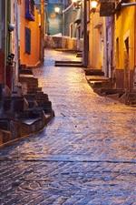 Street, houses, slop, night