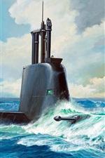Submarine Class 21, type 214, art painting