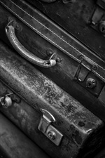 Preview iPhone wallpaper Suitcase, black and white picture