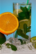 Preview iPhone wallpaper Summer drinks, lemonade, orange, lime, kiwi, mint