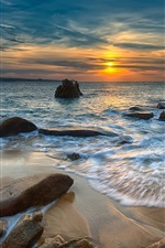 Preview iPhone wallpaper Sunset, sea, stones, nature landscape