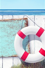 Preview iPhone wallpaper Swimming ring, anchor, fence, sea