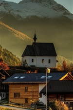 Preview iPhone wallpaper Switzerland, Wallis, houses, mountains, trees, morning, autumn