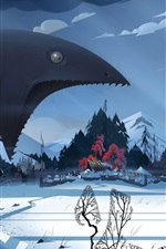 Preview iPhone wallpaper The Banner Saga, video game, monster, winter, snow, village, art picture
