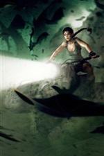 Preview iPhone wallpaper Tomb Raider, Lara Croft, motorcycle, lights