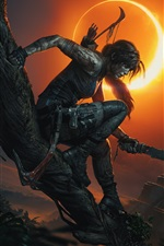 Preview iPhone wallpaper Tomb Raider, Lara Croft, shadow, night, moon