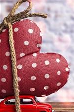 iPhone fondos de pantalla Coche de juguete y gran corazón de amor