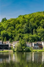Traben-Trarbach, Germany, river, houses, trees, green
