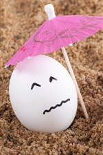 Preview iPhone wallpaper Two eggs, umbrella, sands, humor