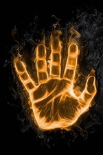 Preview iPhone wallpaper Two hands, fingers, fire, creative picture