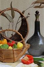 Vegetables, basket, peppers, bottle, still life