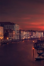 Preview iPhone wallpaper Venice, Italy, river, houses, night