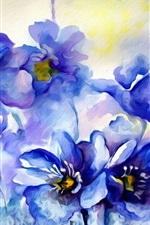 Preview iPhone wallpaper Watercolor painting, blue flowers