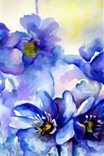 Vorschau des iPhone Hintergrundbilder Aquarellmalerei, blaue Blumen