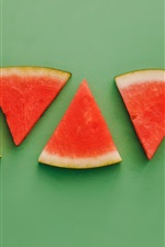 Preview iPhone wallpaper Watermelon slices, green background