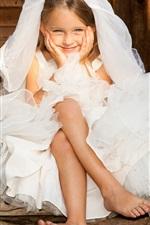 Preview iPhone wallpaper Wedding game, children, bride, boy, girl, flowers