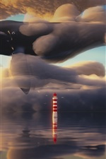 Preview iPhone wallpaper Whale flying in the sky, clouds, lighthouse, sea, art painting