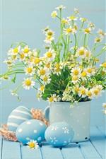 iPhone fondos de pantalla Flores blancas de manzanilla, huevos, felices Pascuas