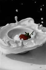 White cup and plate, milk, strawberry, splash