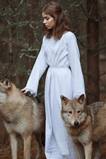 Preview iPhone wallpaper White dress girl, two wolves