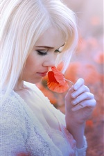 Preview iPhone wallpaper White hair girl, red poppy flower