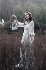 Preview iPhone wallpaper White skirt girl, bird, bushes