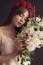 Preview iPhone wallpaper White skirt girl, mood, flowers, bouquet