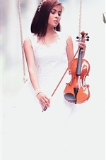 Preview iPhone wallpaper White skirt girl play violin, swing