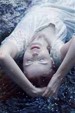 Preview iPhone wallpaper White skirt girl sleep in the water