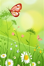 Preview iPhone wallpaper Wildflowers, butterfly, summer, art picture